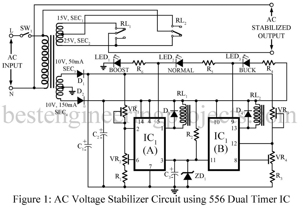 AC Voltage Stabilizer Circuit using 556 IC - Best Engineering Projects