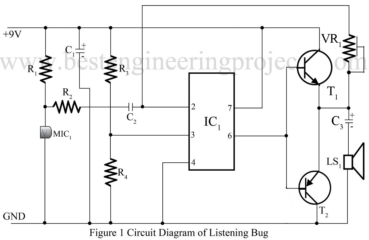 listening bug using op amp 741 op amp 741 based projects. Black Bedroom Furniture Sets. Home Design Ideas