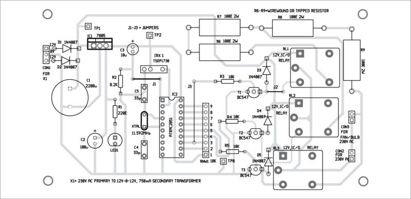 figure 3: solder side pcb design for ir remote controller fan regulator  using at89c2051
