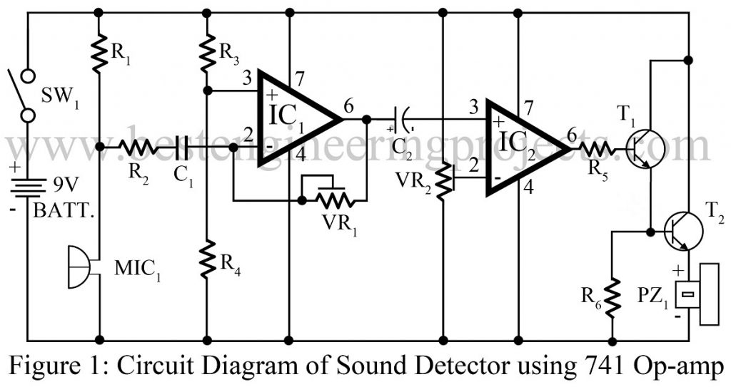 Sound detector circuit using op-amp 741 - Best Engineering Projects
