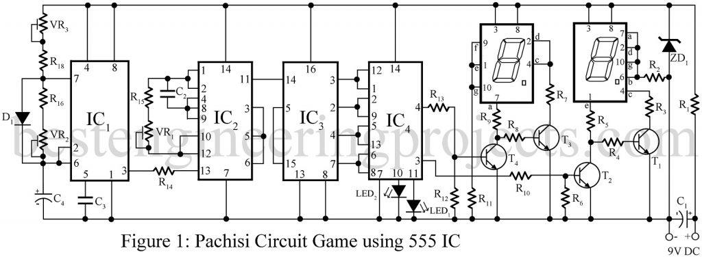pachisi circuit game using 555 ic