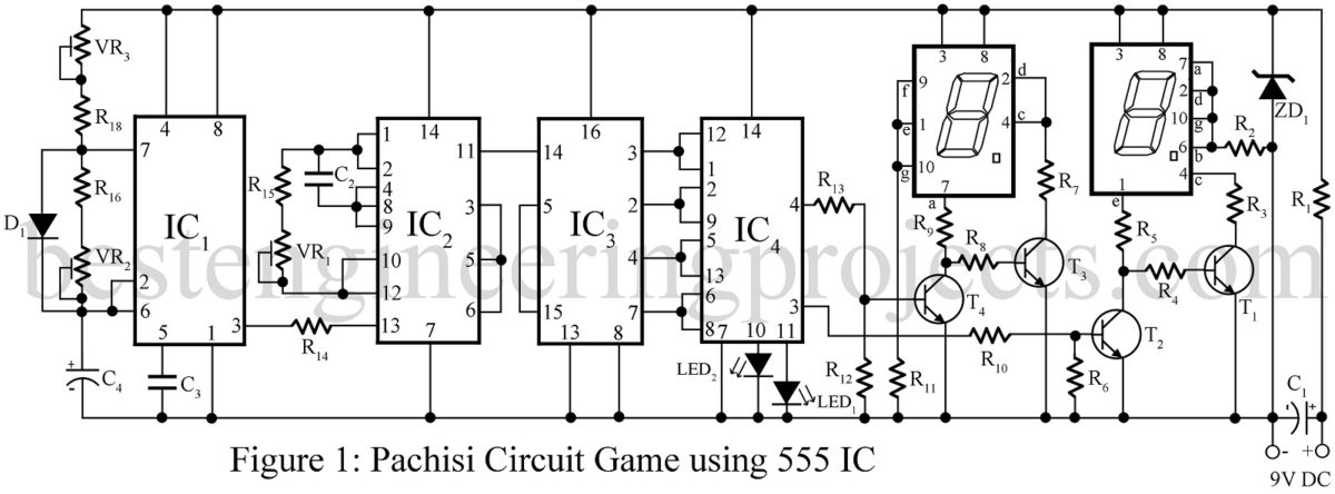 Pachisi Circuit Game Using 555 Ic Best Engineering Projects Timer Potentiometer