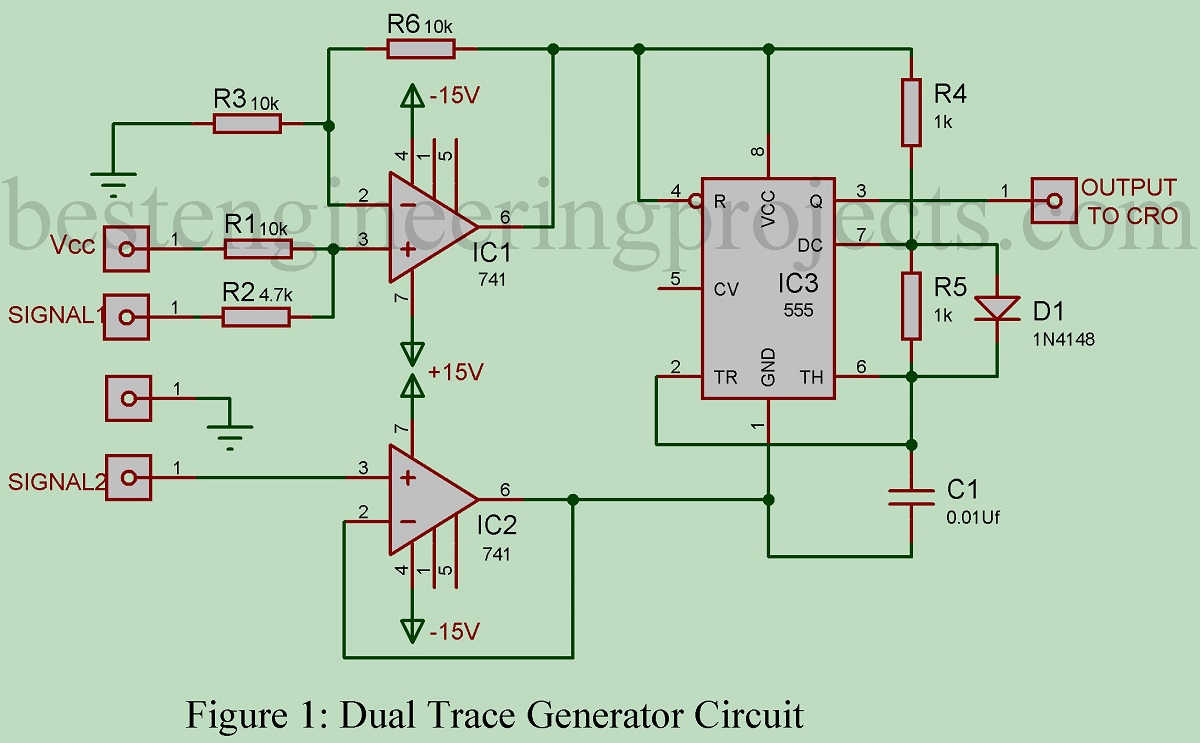 Dual Trace Generator Circuit Be Seen From The Ic 555 Use To Function Frequency