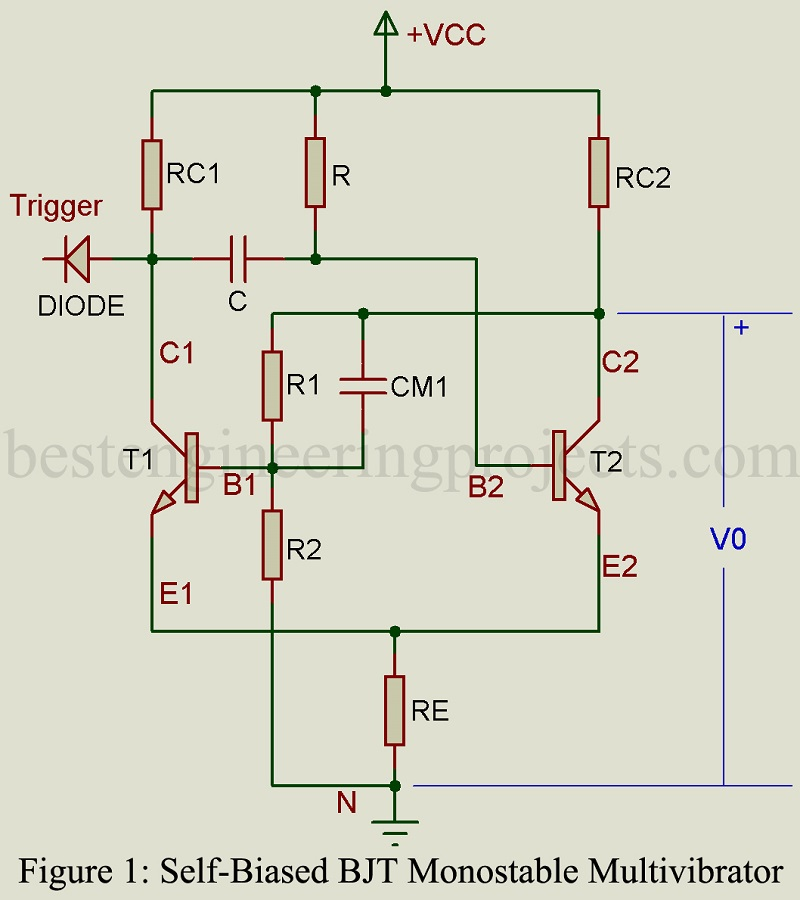 monostable multivibratorstate i stable state fig 2 gives the equivalent circuit in the stable state with t1 off and t2 on the following equations are valid for this state