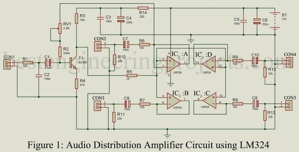 Audio Distribution Amplifier Circuit Using Lm324 Best Engineering