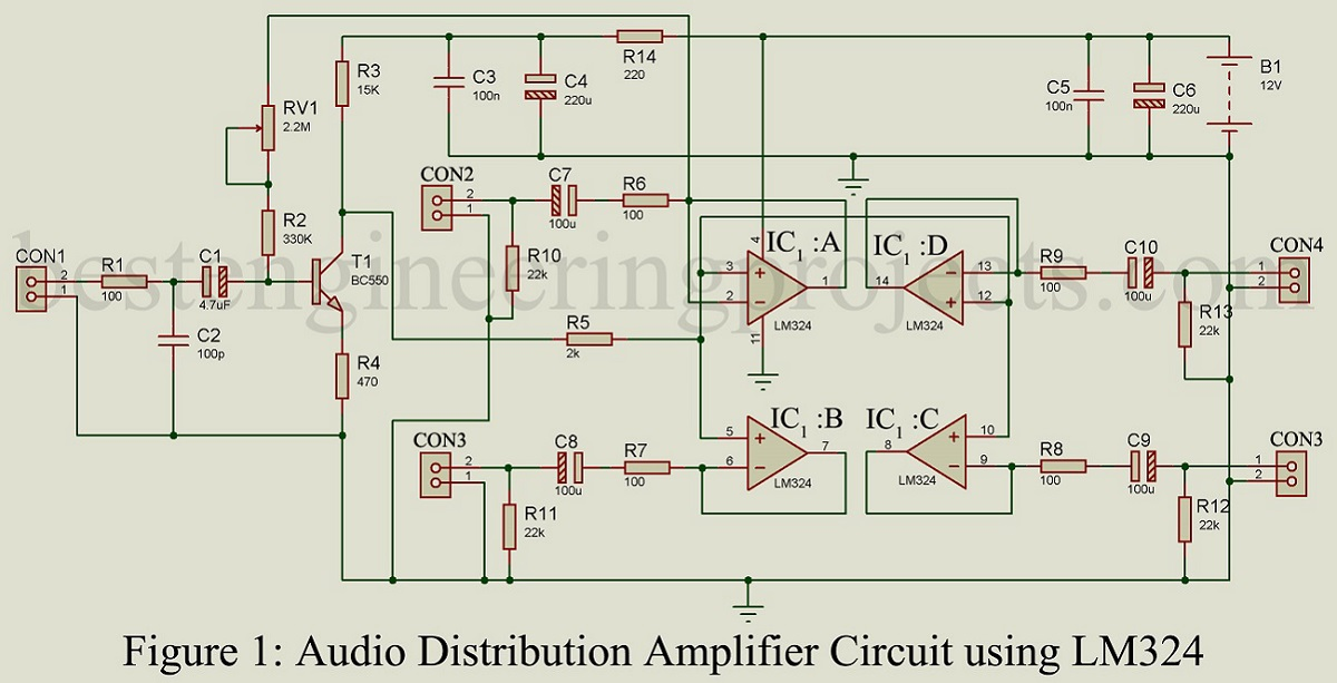 Audio Distribution Amplifier Circuit using LM324 - Engineering Projects