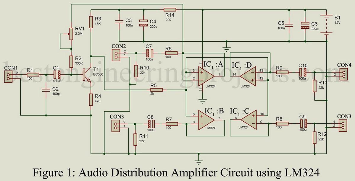 Audio Distribution Amplifier Circuit Using LM324