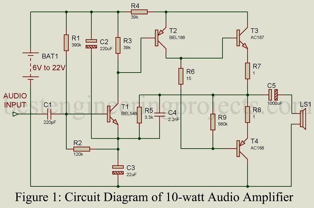 10 watt audio amplifier rh bestengineeringprojects com