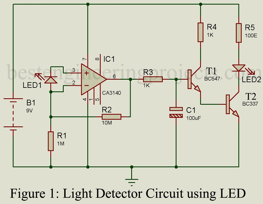 Light Detector Circuit Diagram | Diy Light Detector Circuit Using Led Engineering Projects