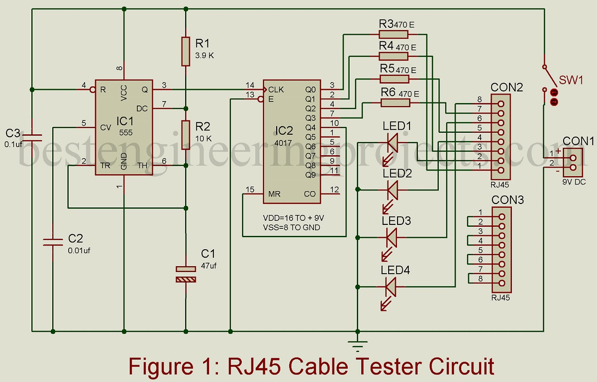 Circuit Diagram Of Lan Cable Tester Automotive Wiring Klein Ethernet Rj45 Best Engineering Projects Rh Bestengineeringprojects Com Data