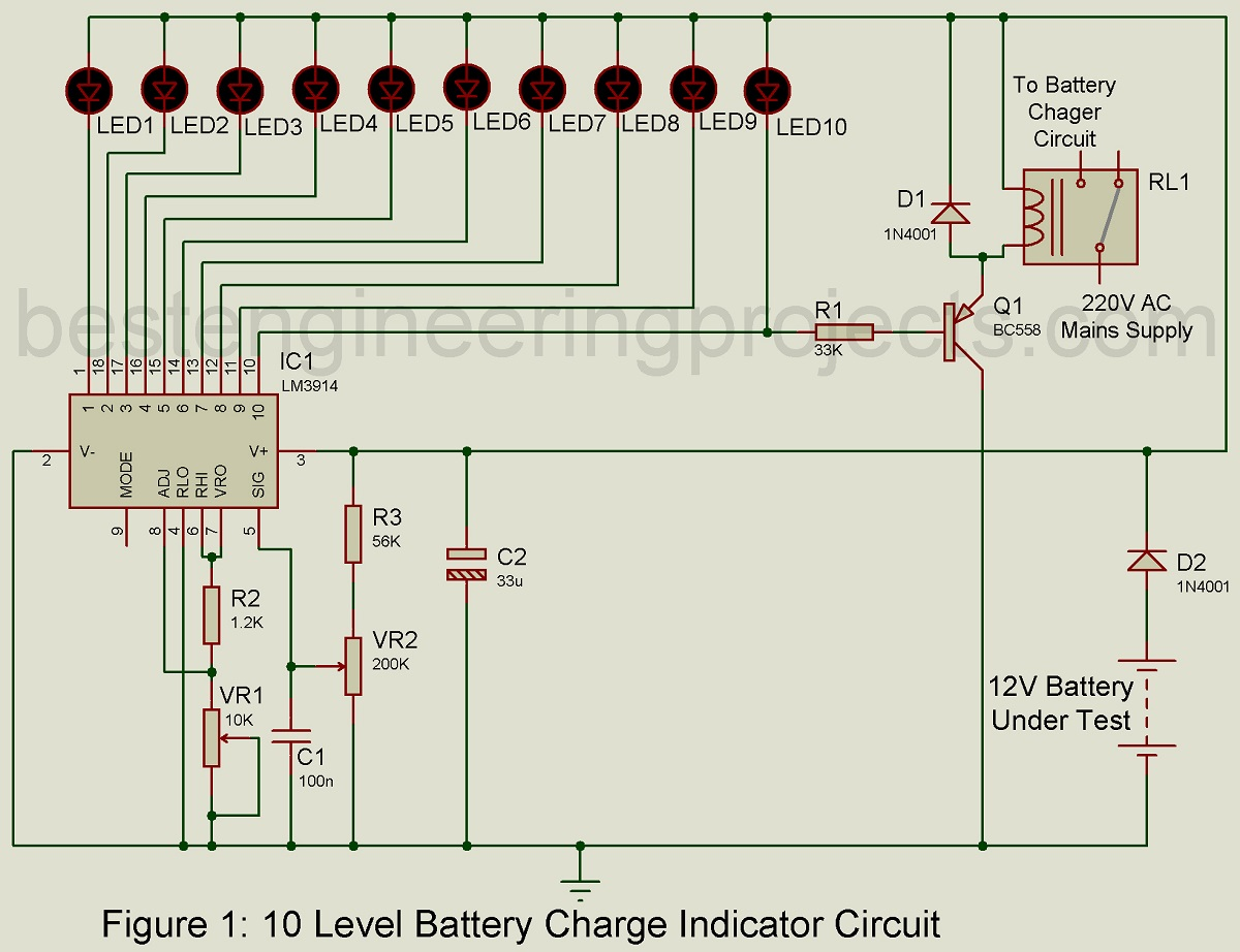 battery circuit diagram 10 level battery charge indicator circuit engineering projects li-ion battery charger circuit diagram battery charge indicator circuit