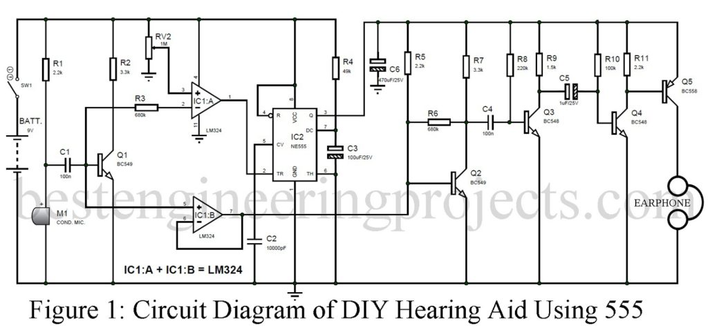 DIY Hearing Aid Circuit using 555