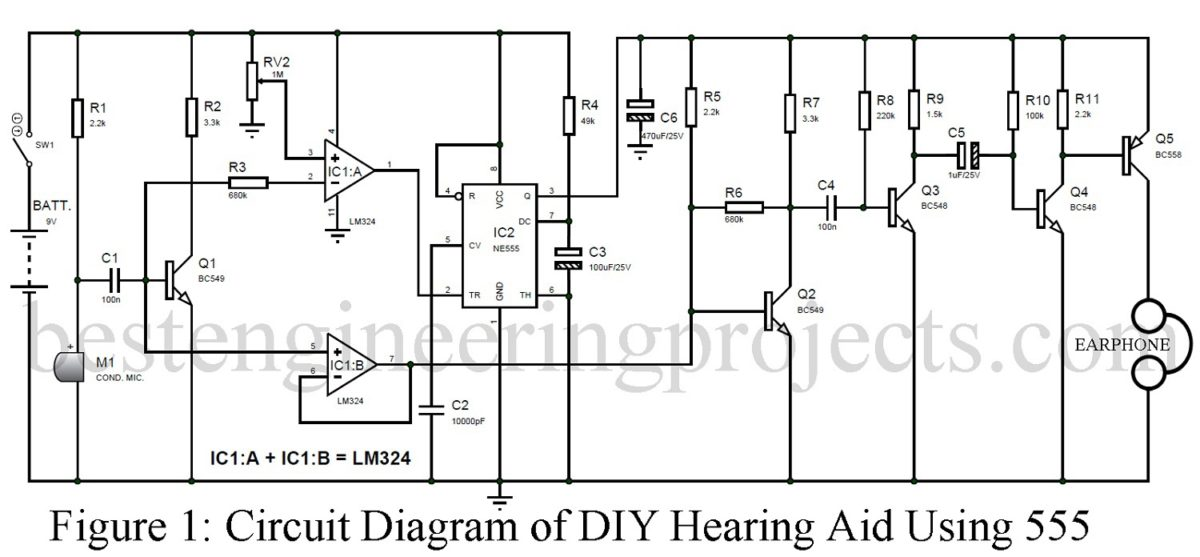 Diy Hearing Aid Circuit Using 555 Operational Amplifier Schematic