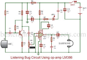 circuit description of listening bug using 741 new model wiringlistening bug circuit using op amp lm386 engineering projectscircuit description of listening bug using 741