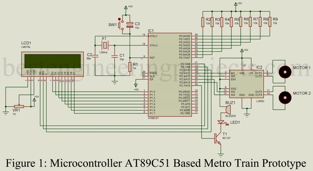 Microcontroller At89c51 Based Metro Train Prototype Best 8051 Crystal Circuit Engineering Projects