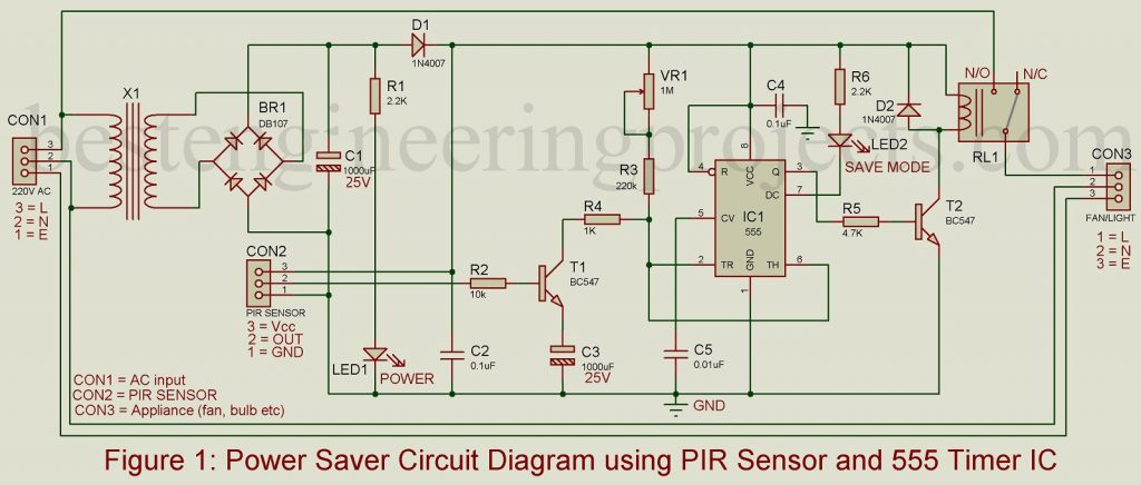 Power Saver Circuit Diagram Using Pir Best Engineering Projects
