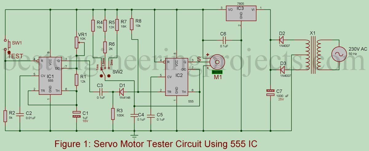 Servo Motor Tester Circuit Using 555 Ic Best Engineering Projects The Timer Astable