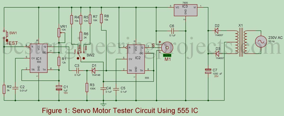 Servo Motor Tester Circuit Using 555 Ic Best Engineering Projects Logic Diagram