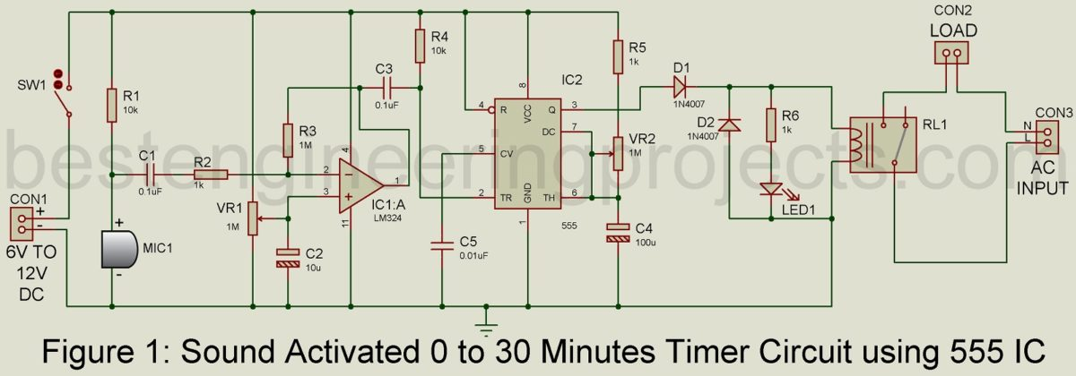 Sound Activated 0 30 Minutes Timer Circuit Best Engineering Projects Power On Delay Circuits By 555