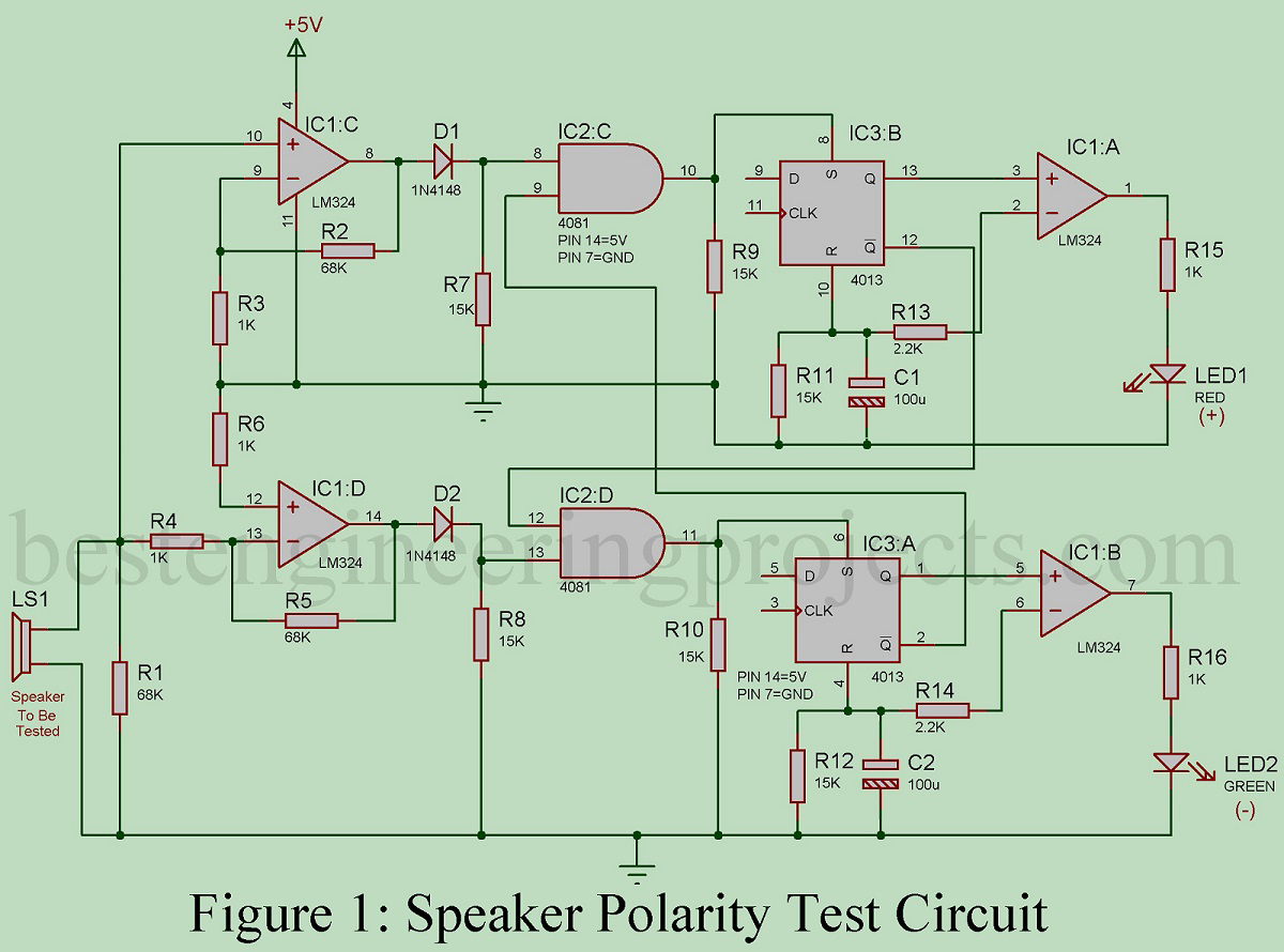 Speaker Polarity Test Circuit Best Engineering Projects Electronics Led Voltmeter For Car Battery By Lm324