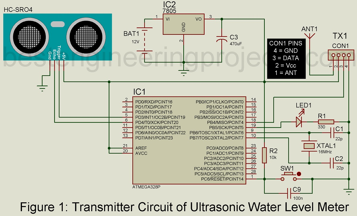 Ultrasonic Water Level Meter Best Engineering Projects 433mhz Rf Transmitter Circuit Diagram