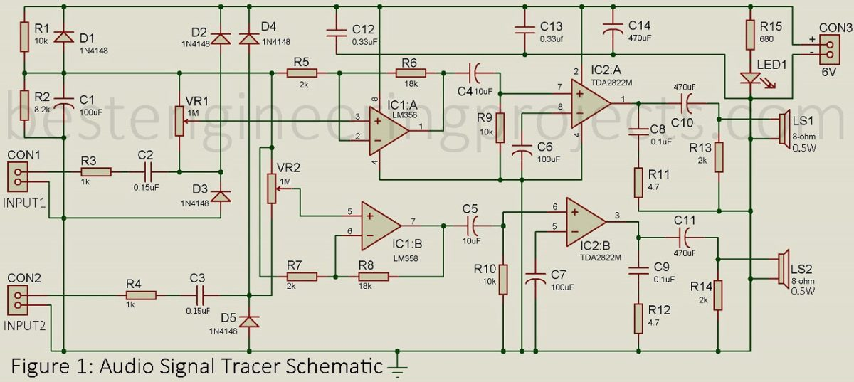 Audio Signal Tracer Schematic - Engineering Projects