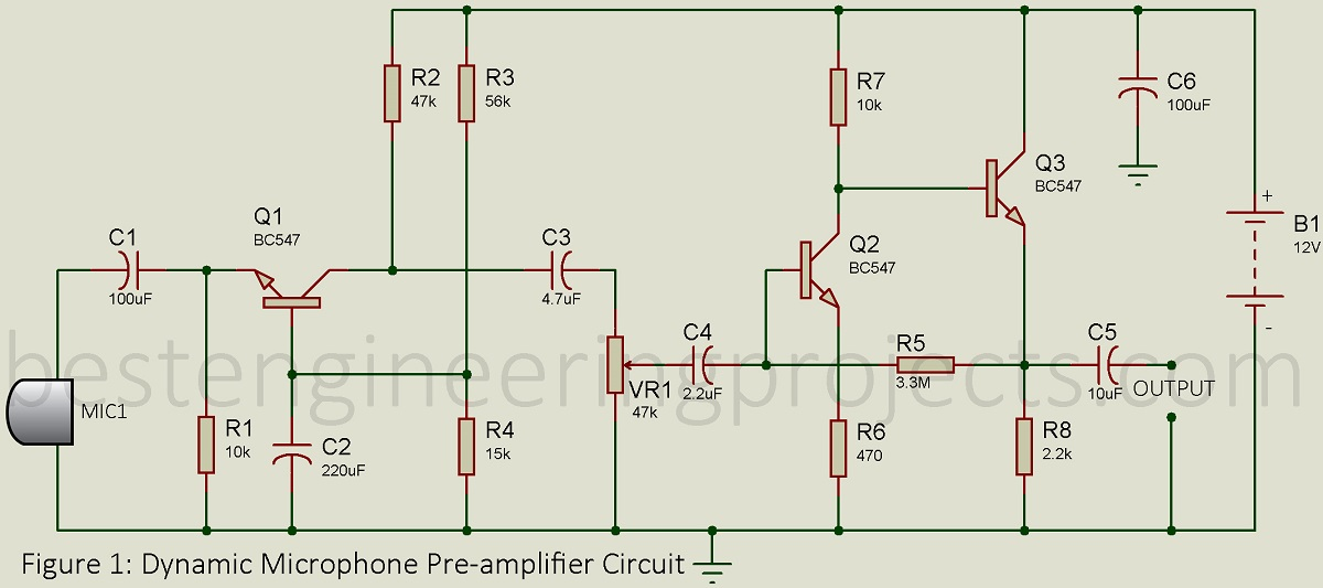 dynamic microphone pre amplifier circuit engineering projects. Black Bedroom Furniture Sets. Home Design Ideas