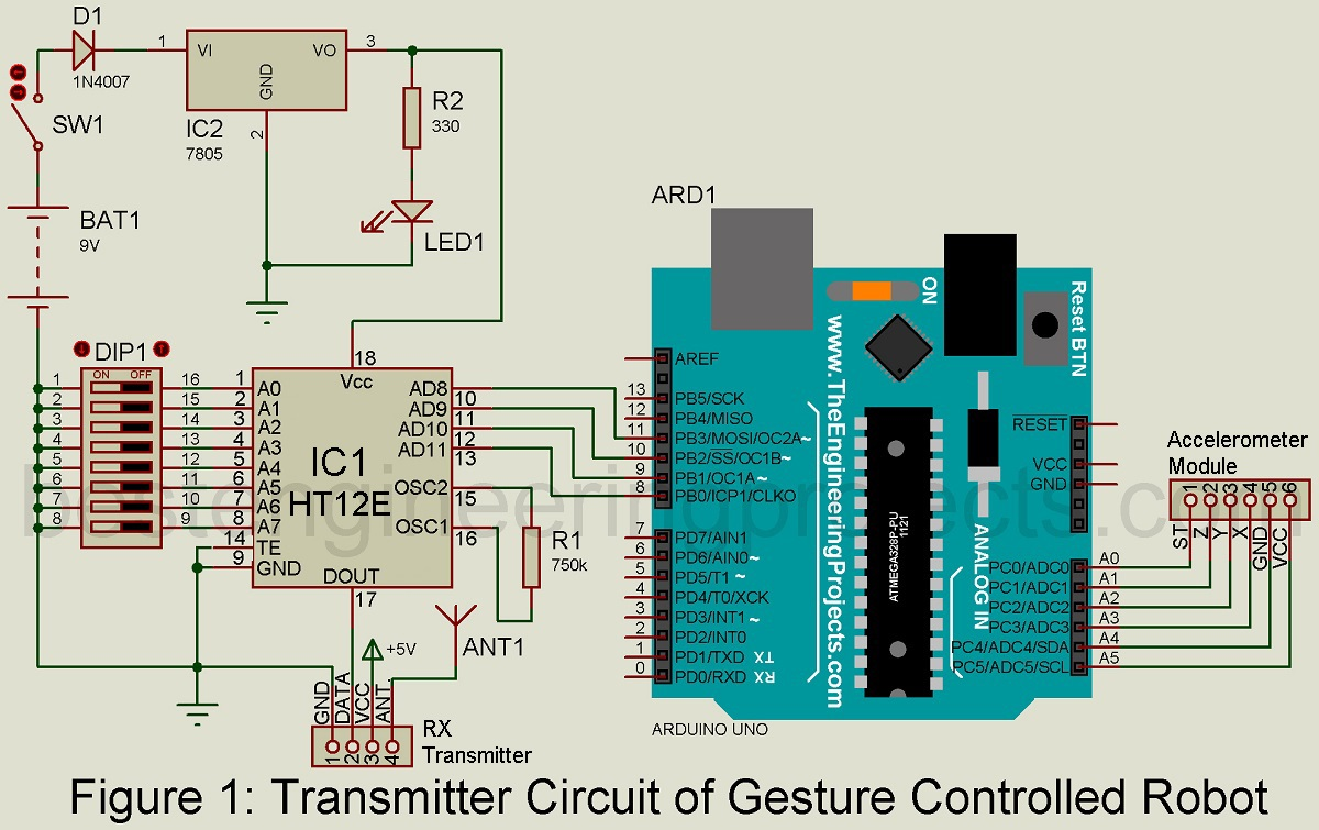 Arduino Gesture Controlled Robot Best Engineering Projects Rf Amplifiers Circuit Diagram This Based On The Lm324 Ic