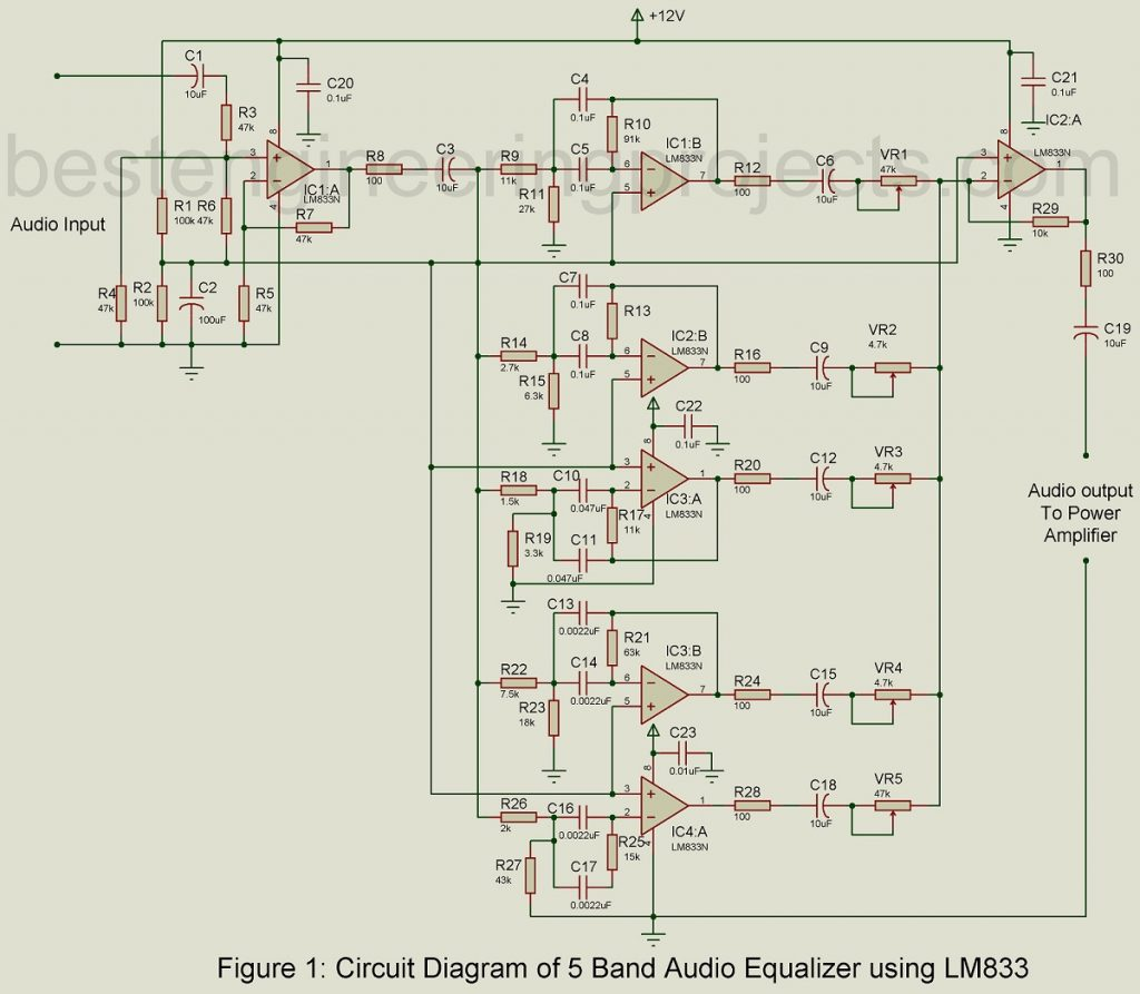 5 band audio equalizer circuit using lm833 best engineering projects rh bestengineeringprojects com 10 band graphic equalizer circuit diagram 10 band graphic equalizer circuit diagram