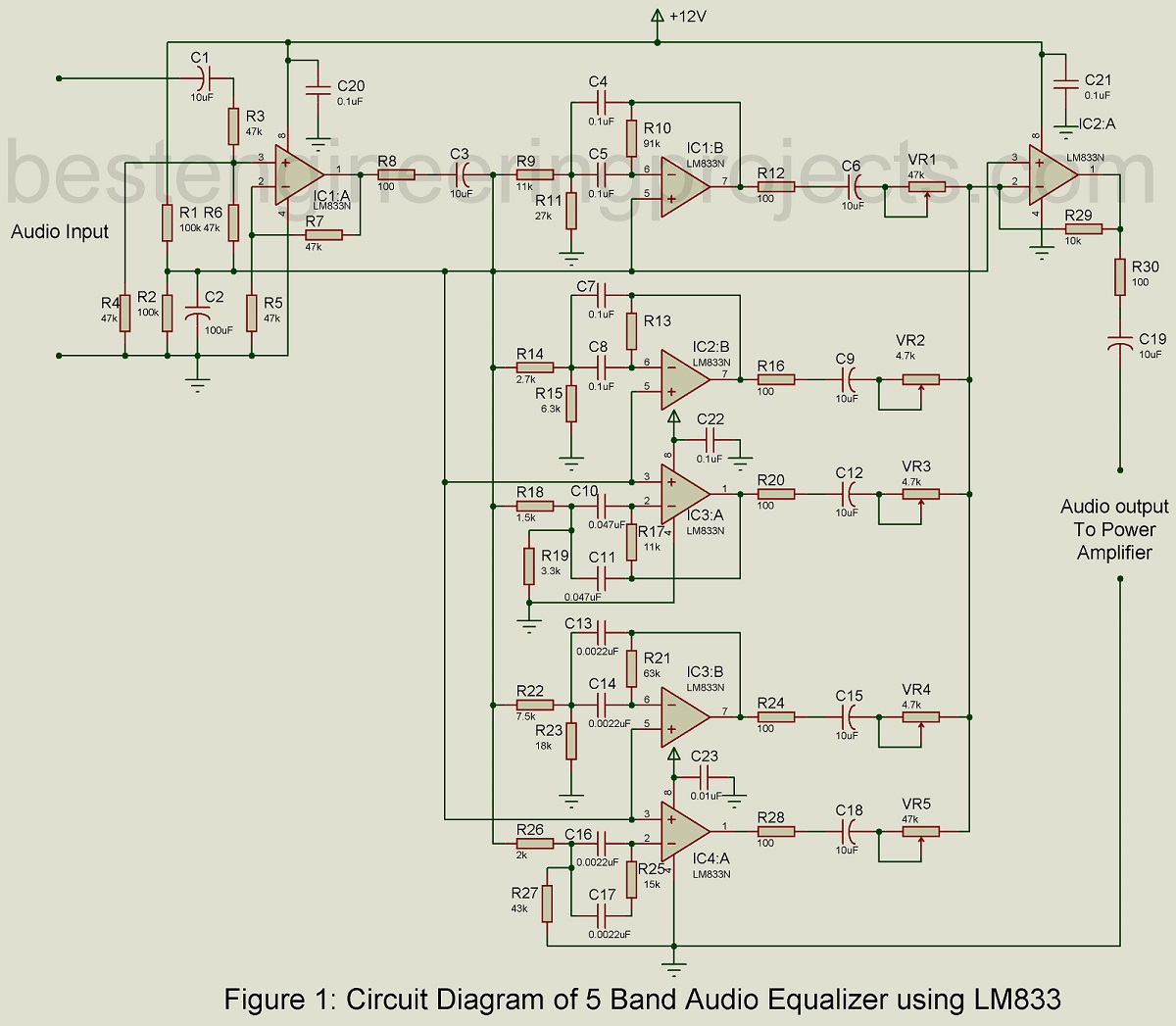 5 Band Audio Equalizer Circuit using LM833 - Engineering ProjectsEngineering Projects