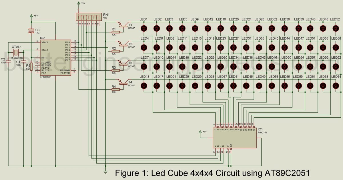 LED Cube 4x4x4 Circuit using AT89C2051 Engineering Projects