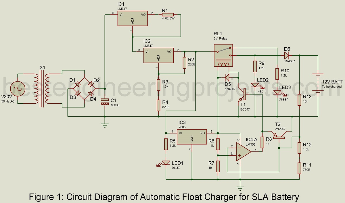 Automatic Battery Float Charger Circuit Switch Electronic Project Using 555 Timer Bc547 Transistors