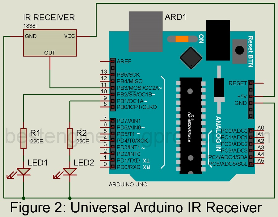 Universal Arduino IR Receiver Circuit - Engineering Projects