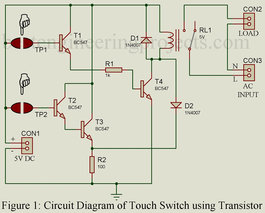 Touch Switch Circuit using Transistor