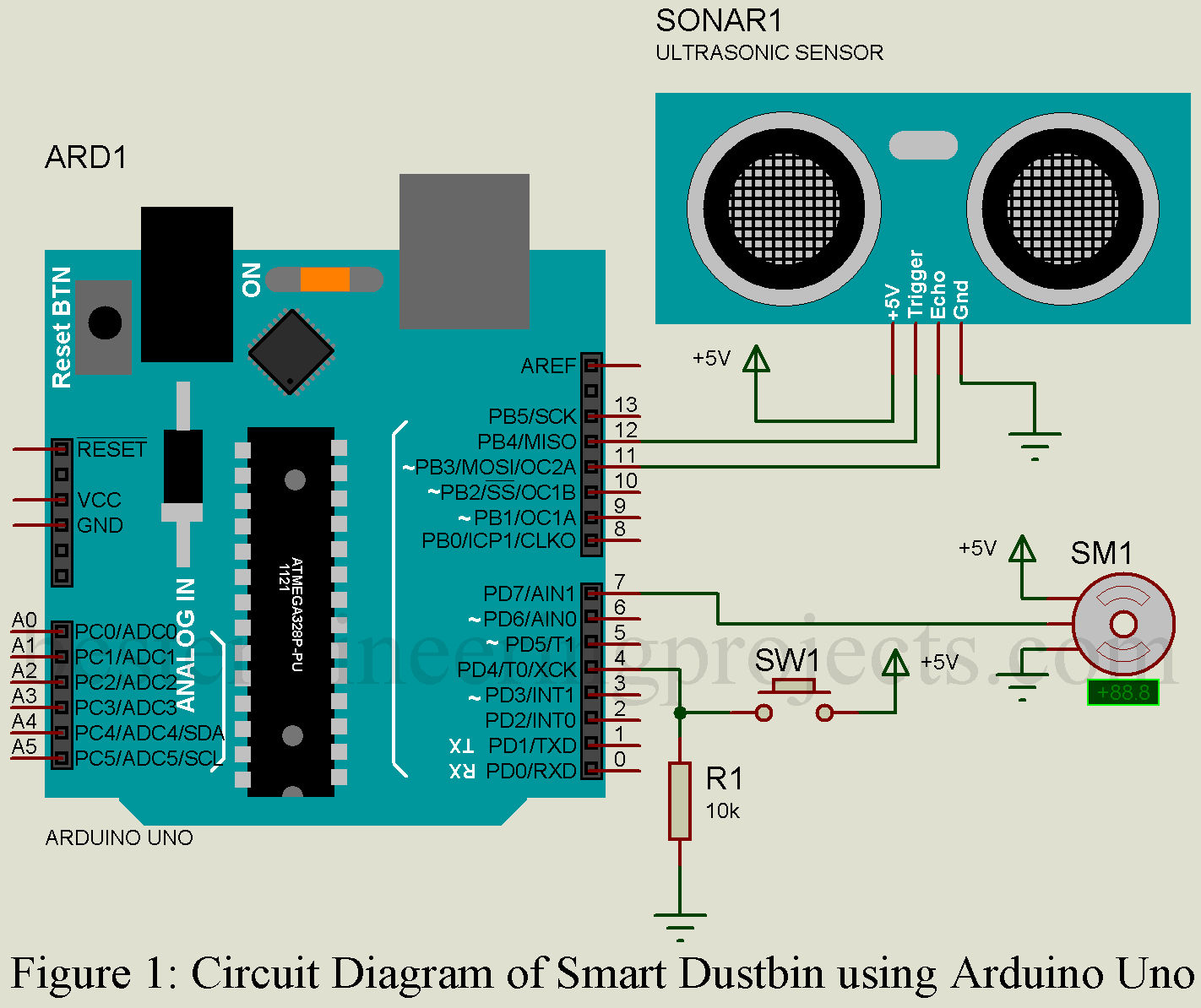 Smart Dustbin Using Arduino Uno Best Engineering Projects Circuit Diagram Water Level Indicator