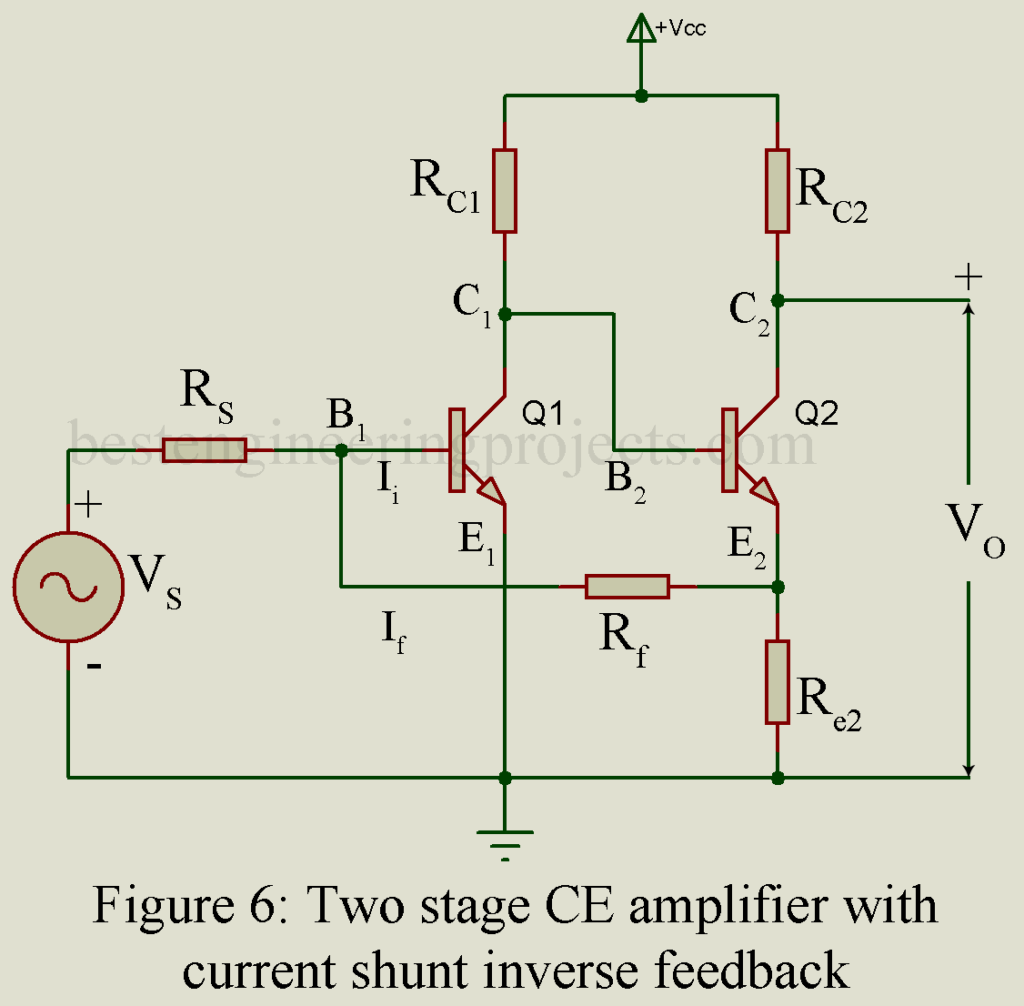 Negative Feedback Amplifier Circuit Merits Best Engineering Projects Current Two Stage Ce With Shunt Inverse