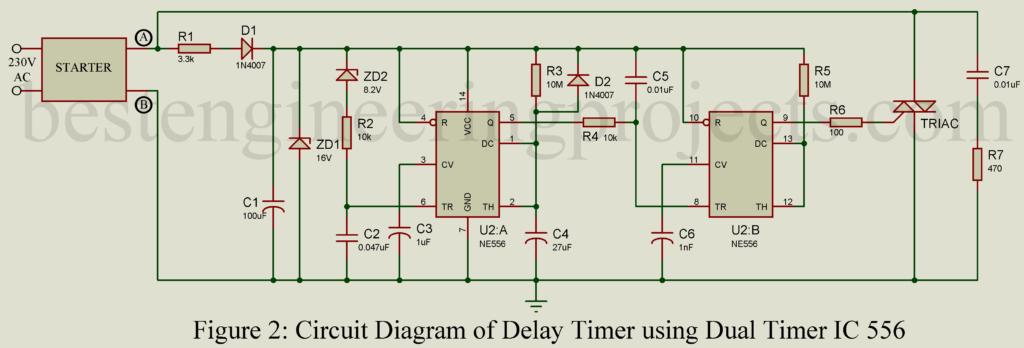 Dual Time Delay Relays Using 556 Timer Circuit Diagram