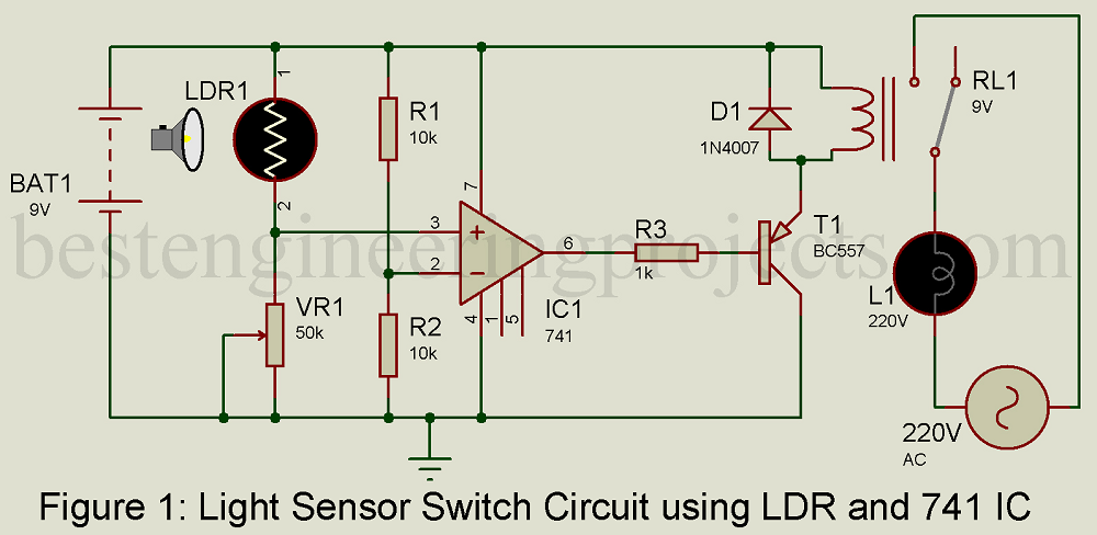 Light Sensor Switch Circuit using LDR and 741 IC ... on