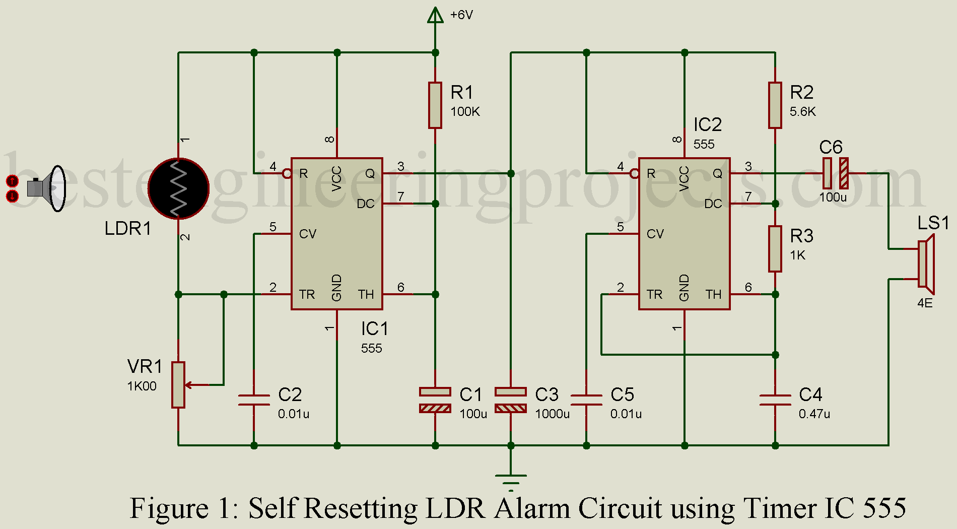 Self Resetting Ldr Alarm Using Timer Ic 555 Best Engineering Projects In The Astable Operation Mode Circuit Triggers