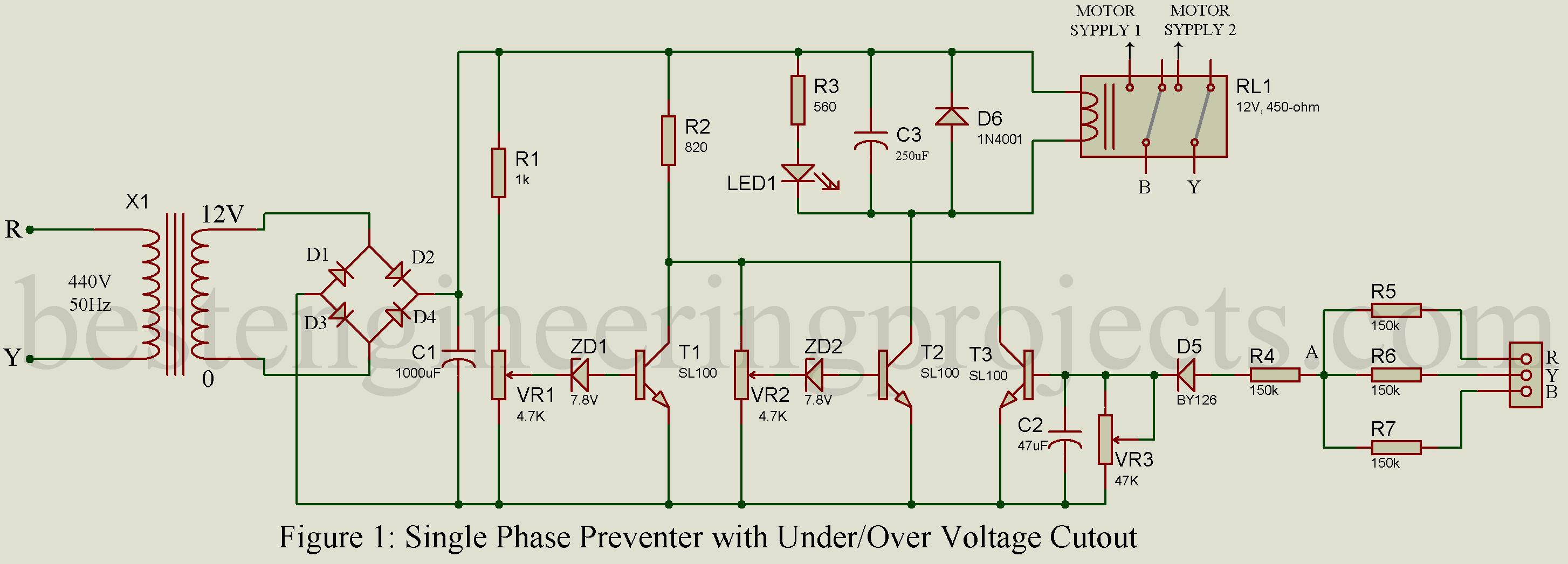 Singal Phase Timer Schematic Diagram Great Installation Of Wiring Single Preventer With Under Over Voltage Cutout Best Rh Bestengineeringprojects Com 42 1111 Sestos B1s