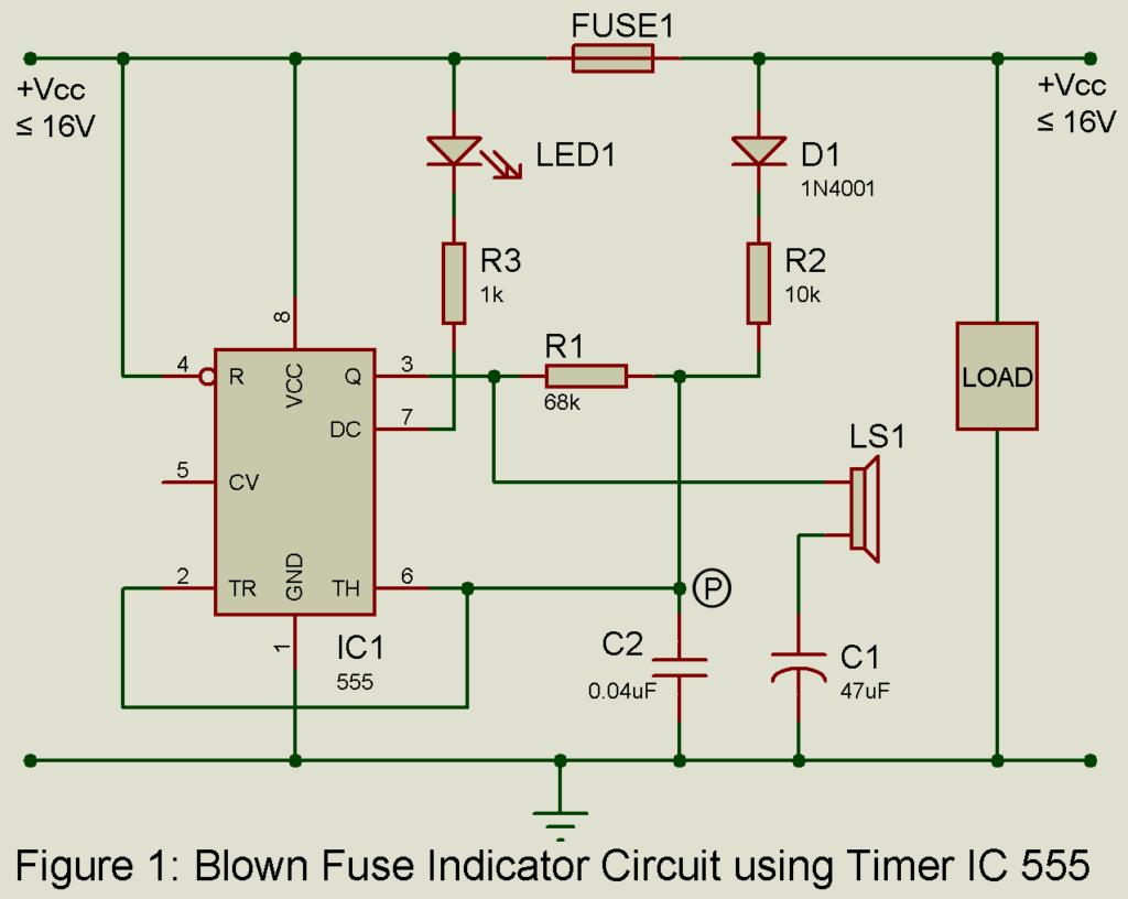 Blown Fuse Indicator Circuit Best Engineering Projects Be Seen From The Ic 555 Use To Function Frequency Generator