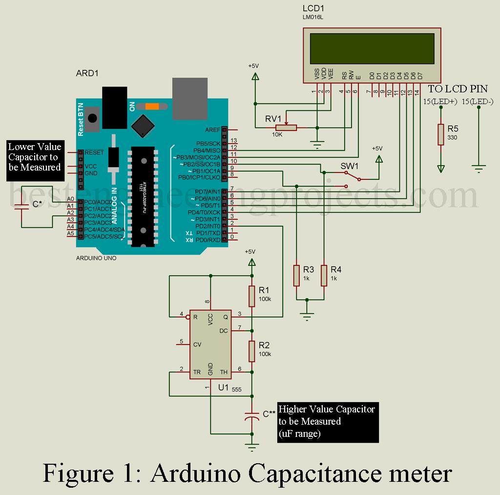 Capacitance Meter Circuit Diagram | Arduino Capacitance Meter Project Engineering Projects