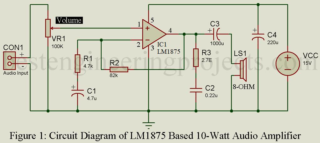 10 Watt Audio Amplifier Circuit with Volume Control