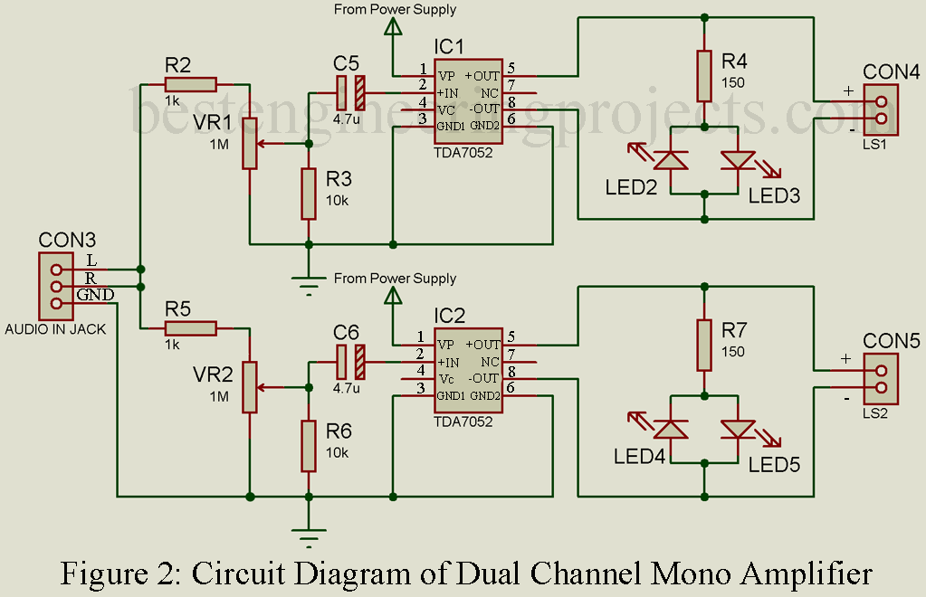 stereo amplifier circuit diagram engineering projectsdual channel mono amplifier