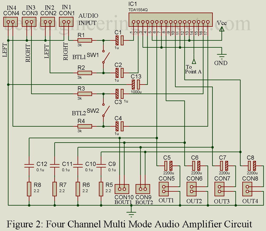 Four Channel Audio Amplifier Circuit Best Engineering Projects Generators Circuits 9