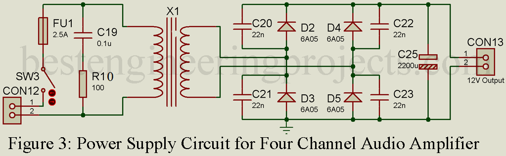 Four Channel Audio Amplifier Circuit - Engineering Projects