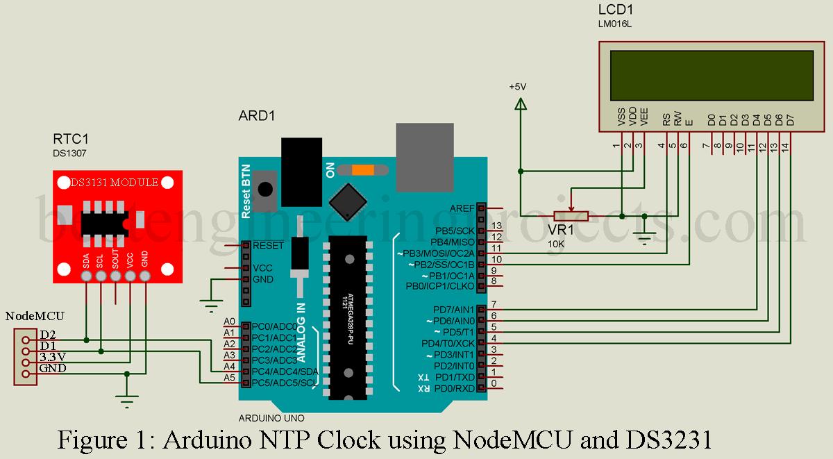 Arduino NTP Clock using NodeMCU and DS3231 - Engineering