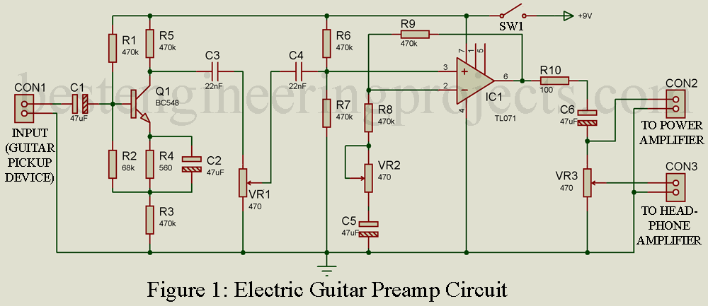 electric guitar preamp circuit engineering projects. Black Bedroom Furniture Sets. Home Design Ideas
