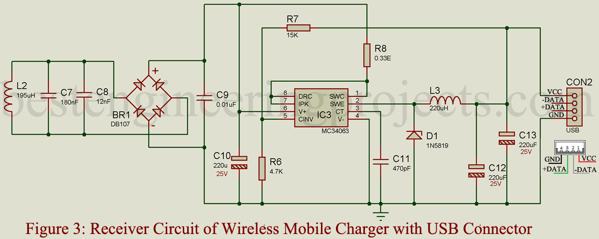 wireless mobile charger circuit diagram engineering projectsbattery charger circuit wiring