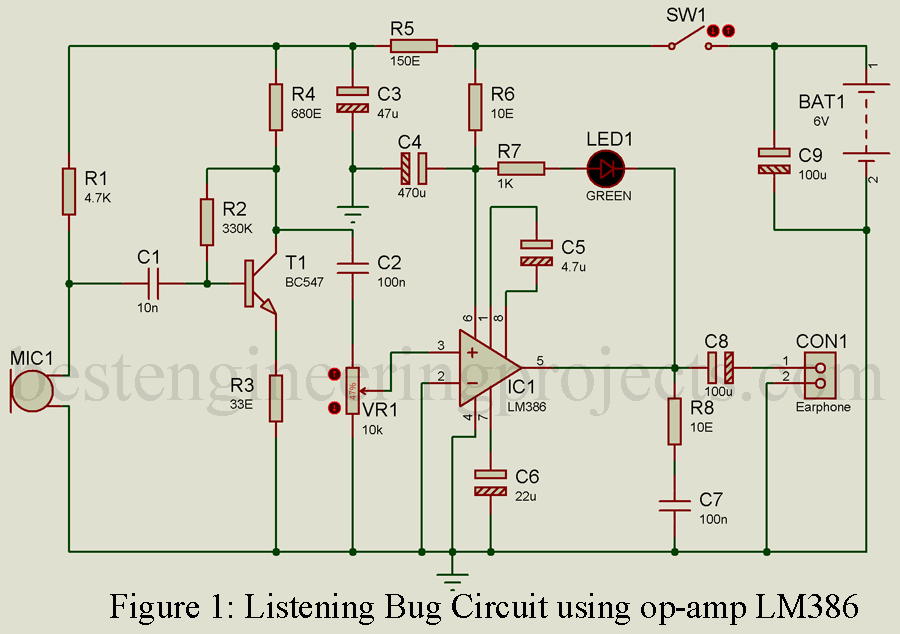 listening bug circuit using op amp lm386 engineering projects